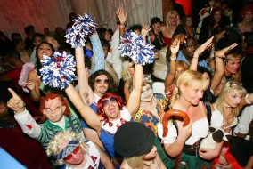 LAS VEGAS - OCTOBER 31:  Costumed revelers attend a Halloween party at the Tangerine Lounge & Nightclub at the Treasure Island Hotel & Casino October 31, 2005 in Las Vegas, Nevada.  (Photo by Ethan Miller/Getty Images)