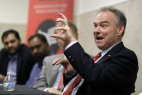 Sen. Tim Kaine, D-Va., speaks at a roundtable discussion on religious freedom with the regional interfaith community at All Dulles Area Muslim Society (ADAMS) Mosque in Sterling, Va., Thursday, July 21, 2016. (AP Photo/Manuel Balce Ceneta)