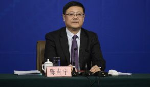 Chinese environment minister Chen Jining attends a news conference at the annual session of the National People's Congress (NPC), the country's parliament, in Beijing, March 7, 2015. China cannot relent on efforts to tackle pollution, though a rapid turnaround should not be expected, the environment minister told a news conference on Saturday during China's annual parliamentary meeting. The country's environmental laws were still not as strong as its economic laws, and innovation was also weak, said the newly appointed minister Chen. REUTERS/Stringer (CHINA - Tags: POLITICS ENVIRONMENT) CHINA OUT. NO COMMERCIAL OR EDITORIAL SALES IN CHINA