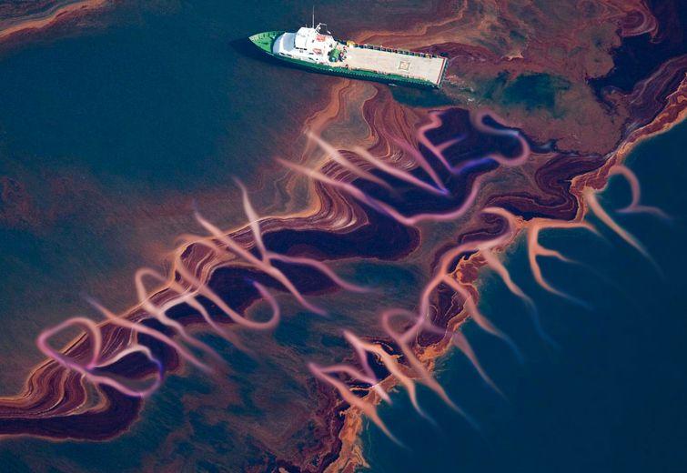 """Ocean with a cruiser driving through an oil spill spelling """"black lives matter"""""""