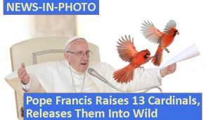 Pope with arms spread, releasing two flying cardinals