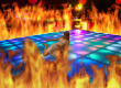 Shawty lies on a dance floor surrounded by flames.