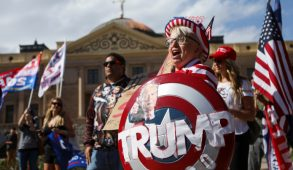 Supporters of Donald Trump protesting