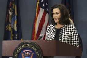Gretchen Whitmer speaking at podium