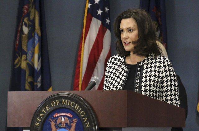 Gretchen Whitmer speaking at podium