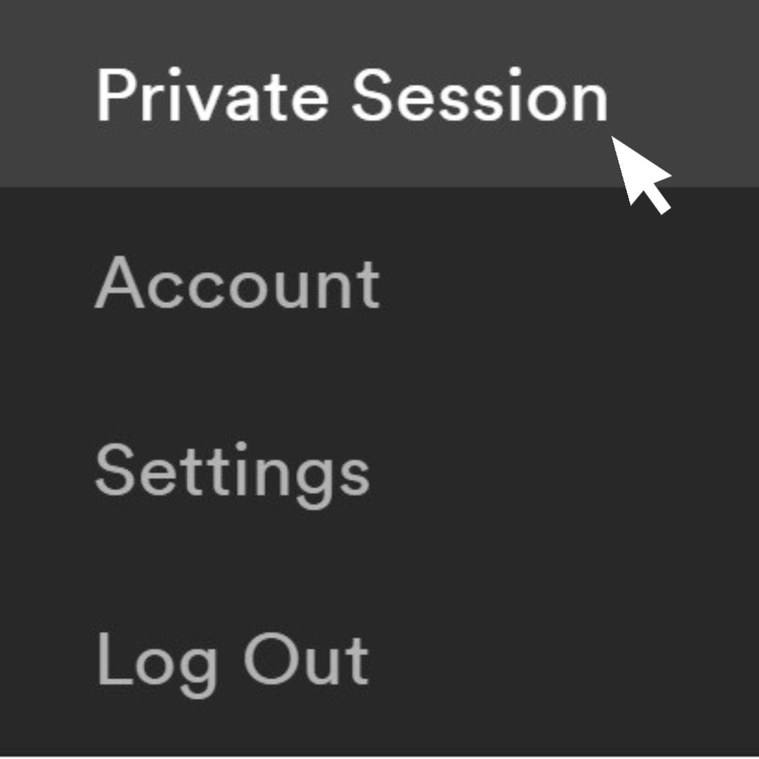 Computer cursor selecting Spotify settings