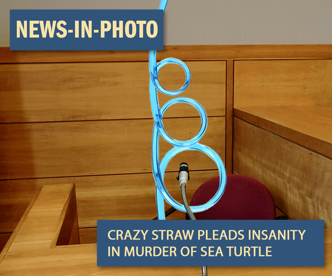 A crazy straw in front of a microphone on a courtroom witness stand