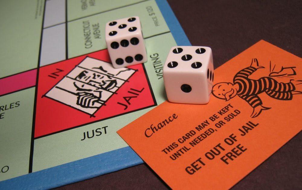 """""""Jail"""" space on Monopoly board with dice"""