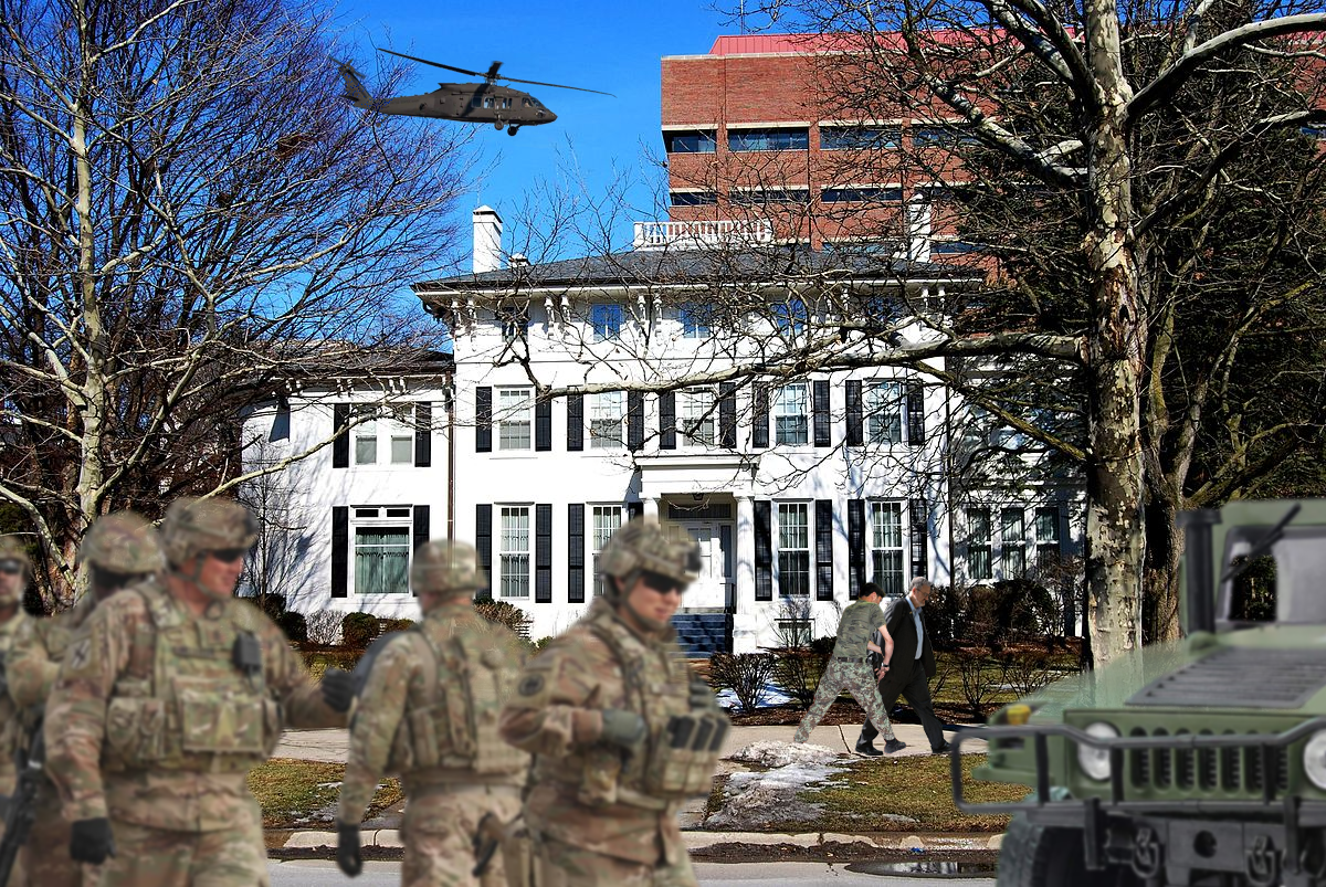 The military stands outside President Schlissel's house.
