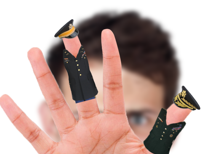 A person's hand with fingers dressed in military uniforms.