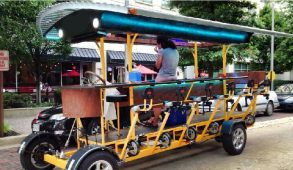 A empty pedal pub car