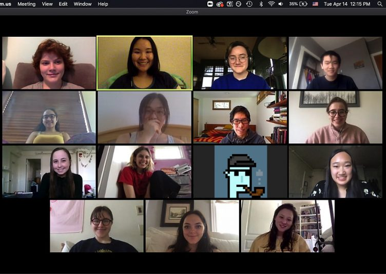Several people hanging out in a zoom call but one of the people is a pixelated NFT.