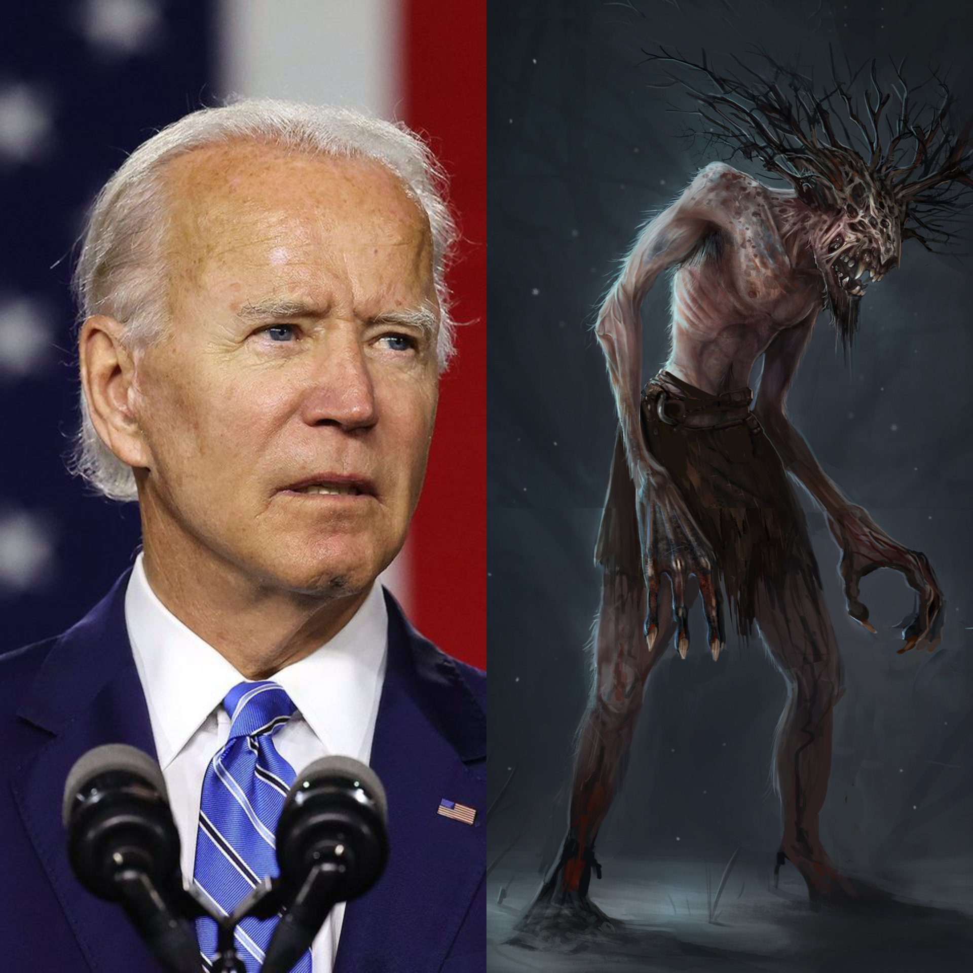 Joe Biden (left), Wendigo (right)