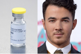 Split image of Kevin Jonas and vaccine vial