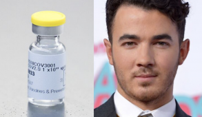 Split image of Kevin Jonas and vaccine vial