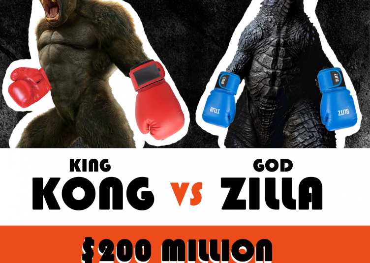 A flyer for the Godzilla vs. Kong charity boxing match.