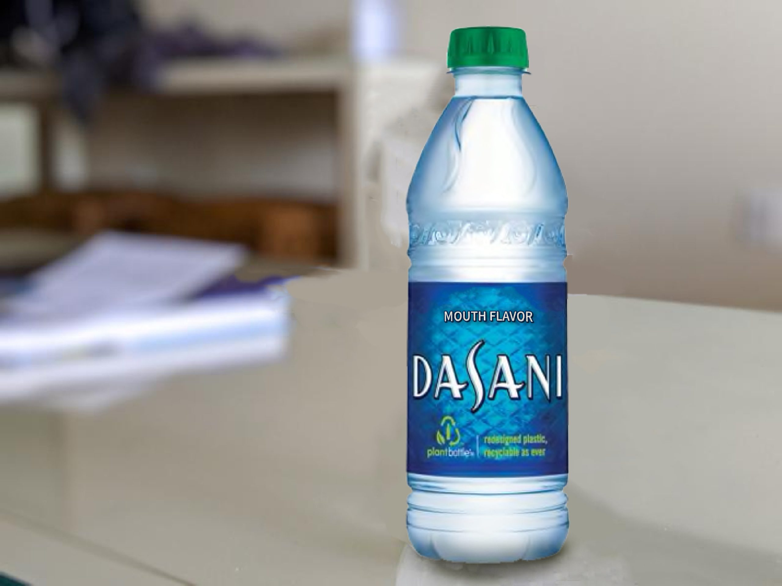 """A Dasani water bottle with the title """"mouth-flavored"""""""