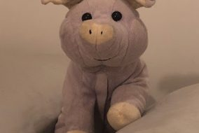 A lavender scented pig that looks in disarray.