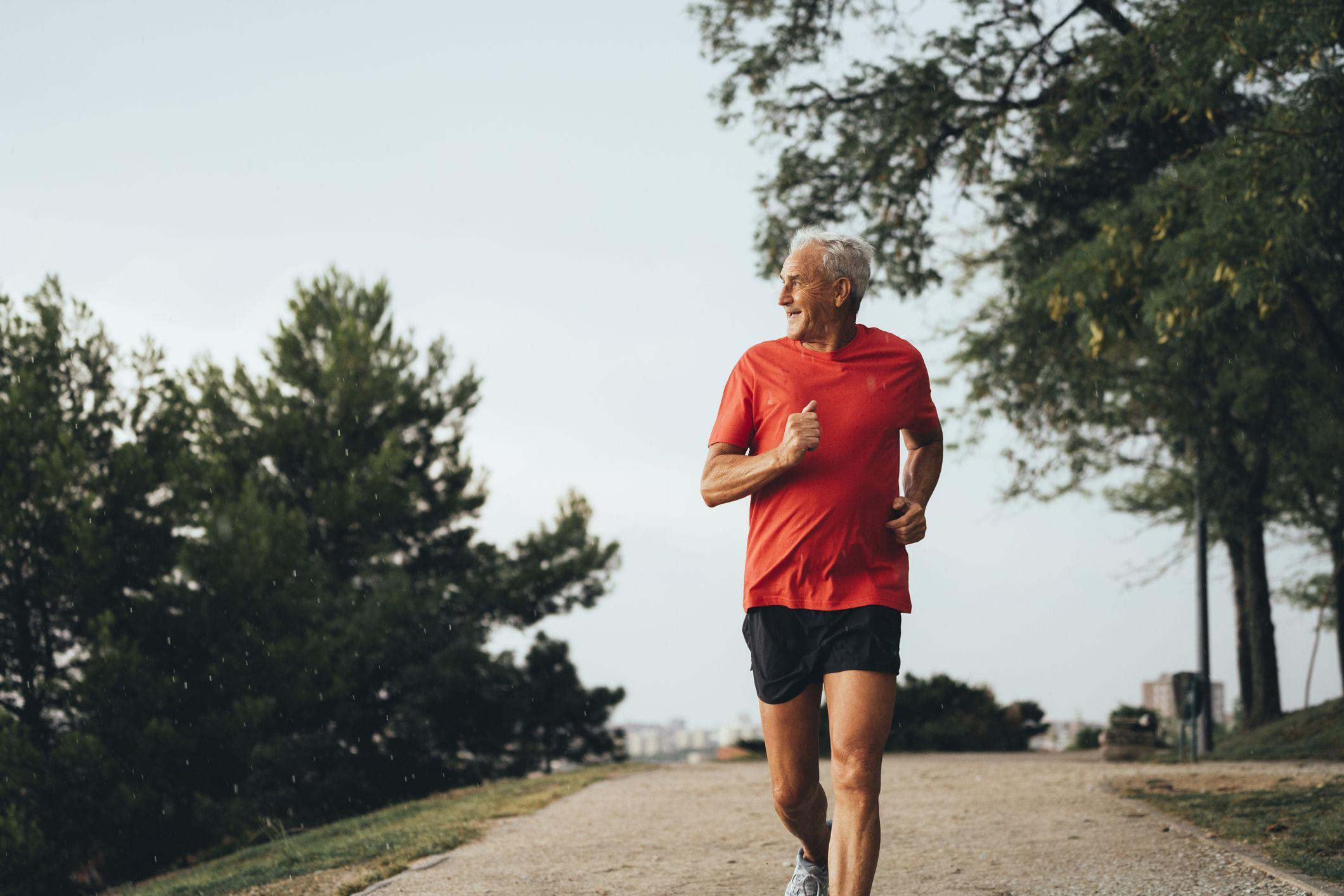 Elderly man jogging